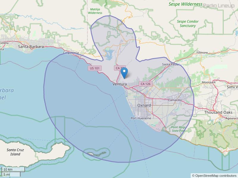 KVYB-FM Coverage Map