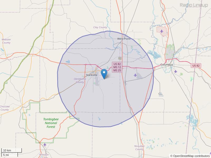 WMSU-FM Coverage Map