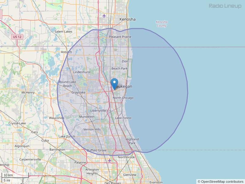 WXLC-FM Coverage Map