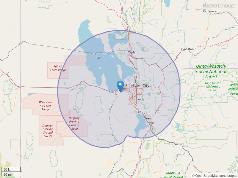 KUBL-FM Coverage Map