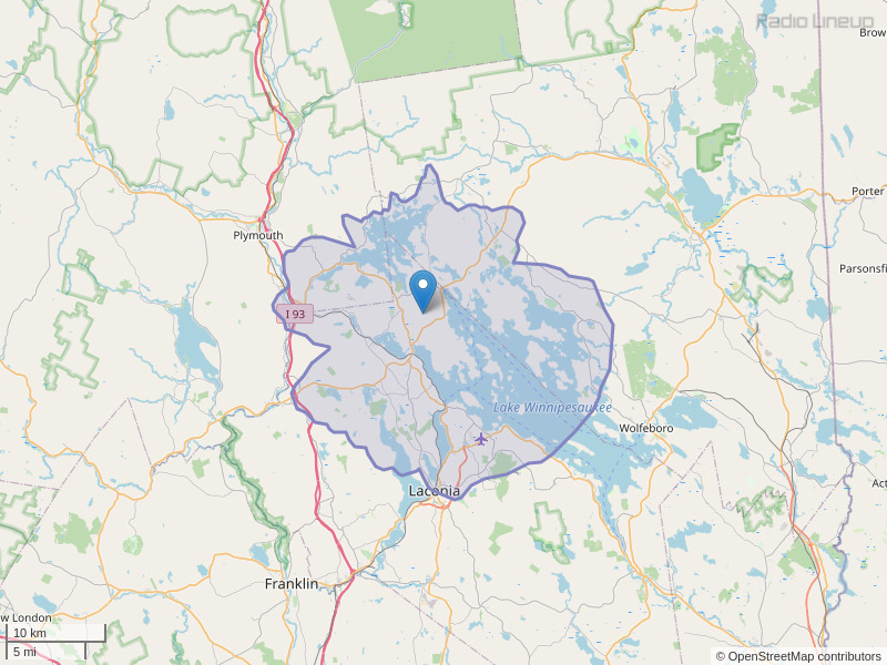 WANH-FM Coverage Map
