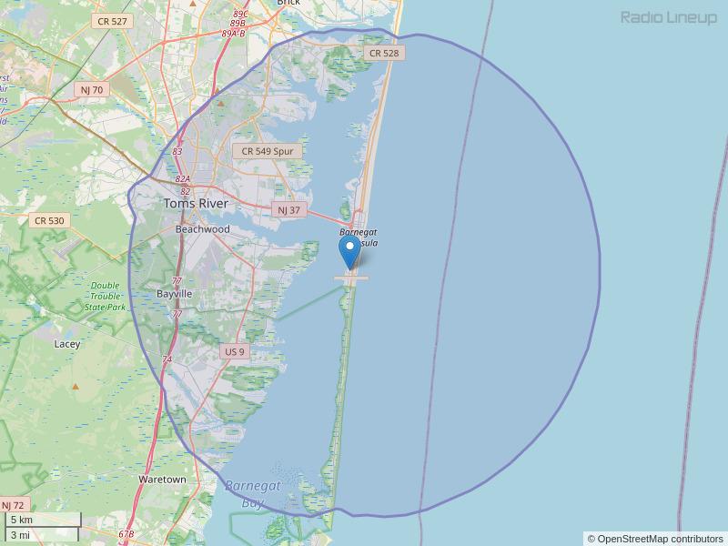 WNJO-FM Coverage Map