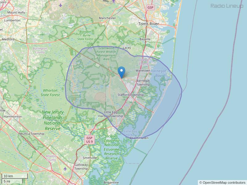 WBNJ-FM Coverage Map