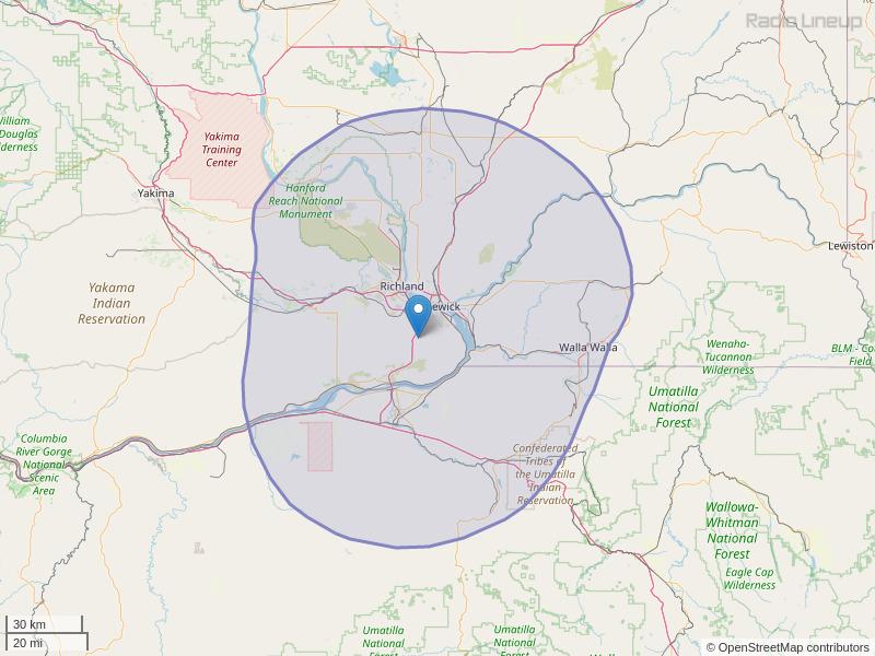 KIOK-FM Coverage Map
