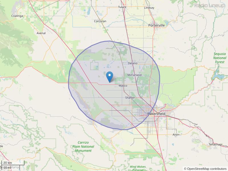 KAIB-FM Coverage Map