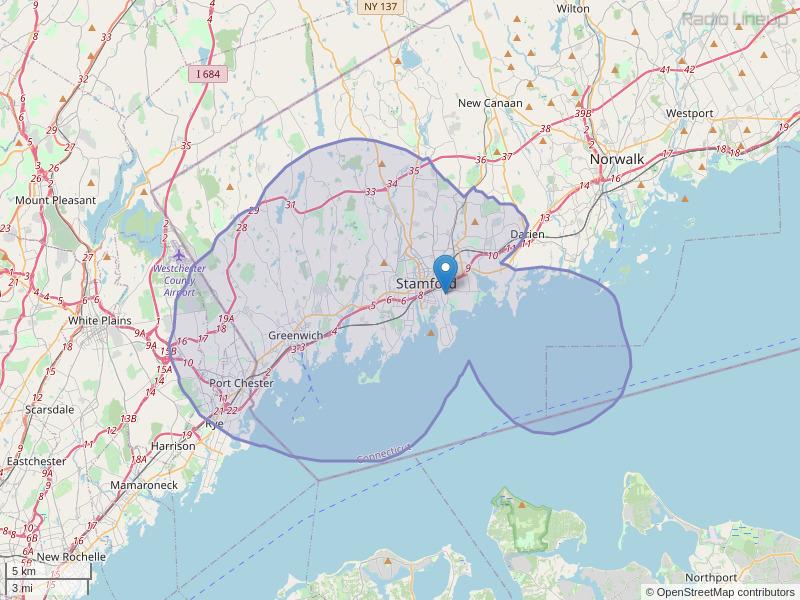 WEDW-FM Coverage Map