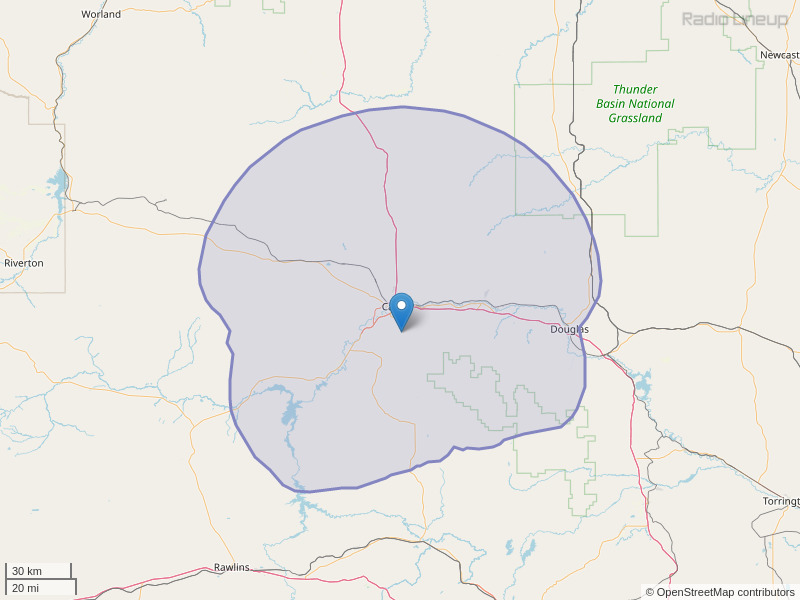 KHOC-FM Coverage Map
