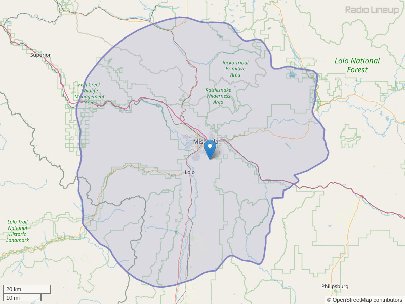 KDTR-FM Coverage Map