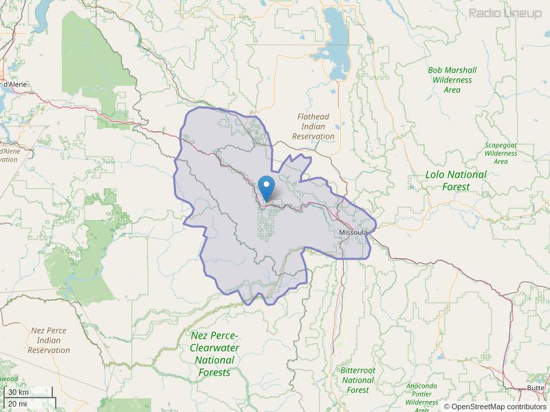 KQEZ-FM Coverage Map