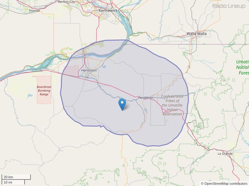 KUMA-FM Coverage Map