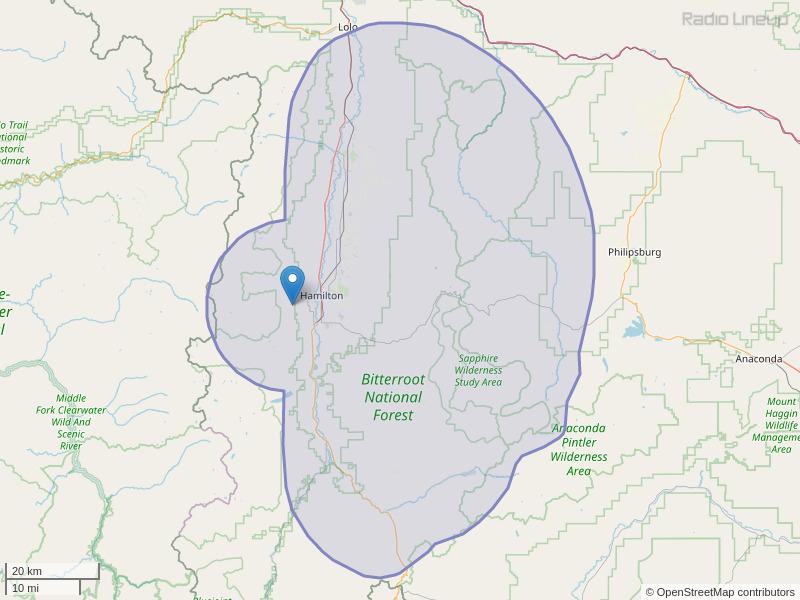 KHDV-FM Coverage Map