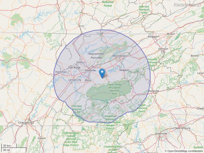 WIVK-FM Coverage Map