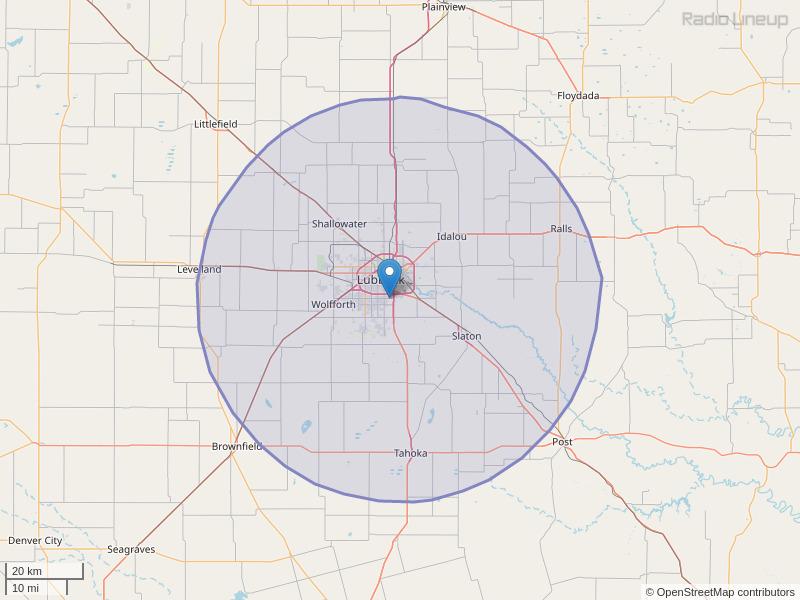 KKCL-FM Coverage Map