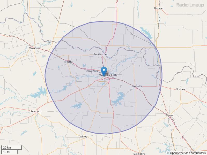 KWFS-FM Coverage Map