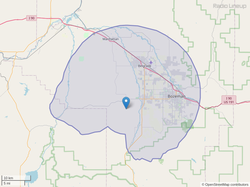 KOFK-FM Coverage Map