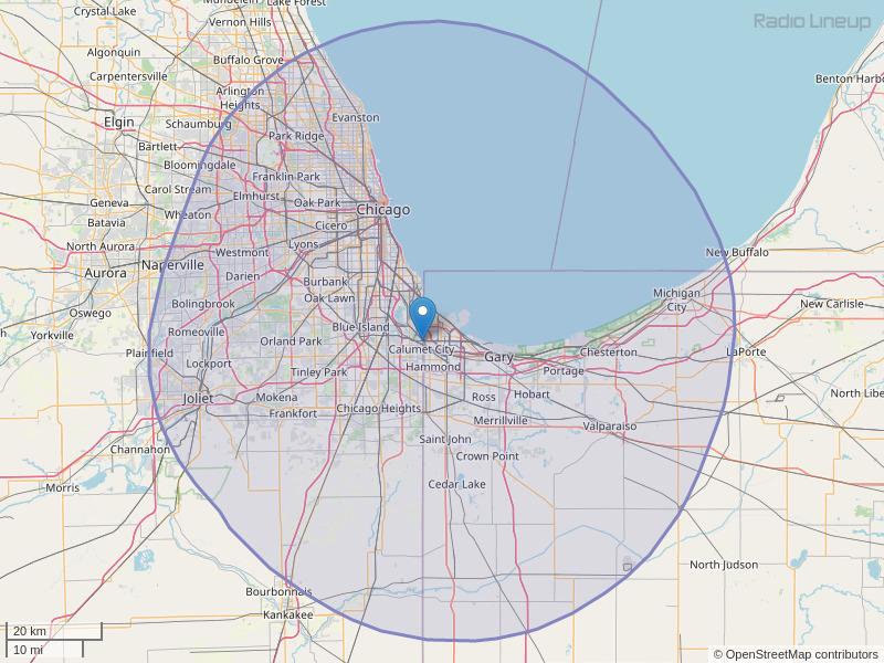 WPWX-FM Coverage Map