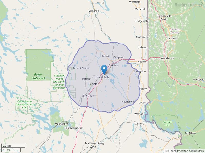 WRPB-FM Coverage Map