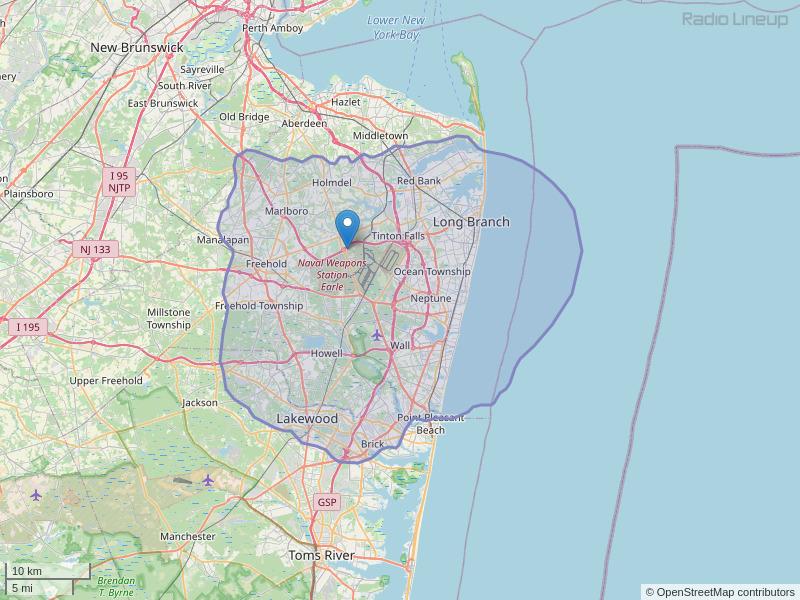 WFJS-FM Coverage Map