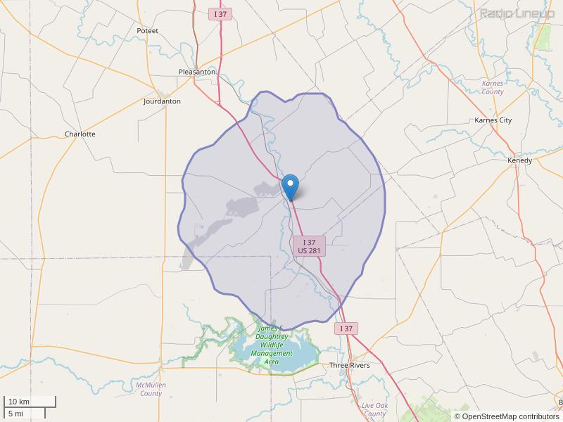 KMPI-FM Coverage Map