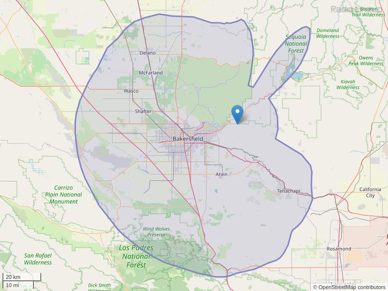 KISV-FM Coverage Map