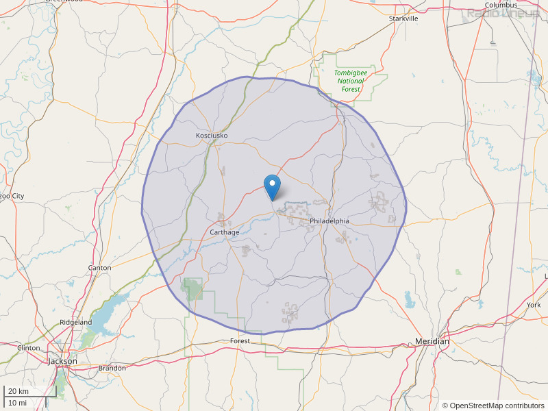 WCKK-FM Coverage Map