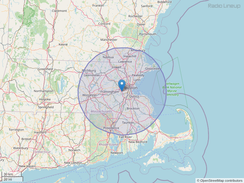 WBZ-FM Coverage Map
