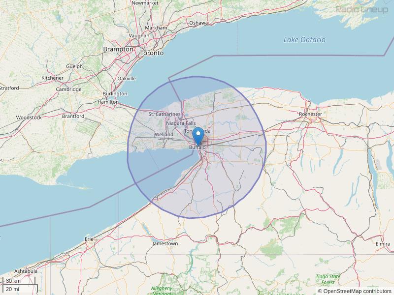 WYRK-FM Coverage Map