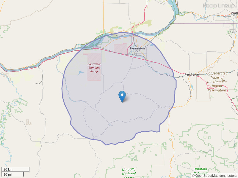 KZLY-FM Coverage Map