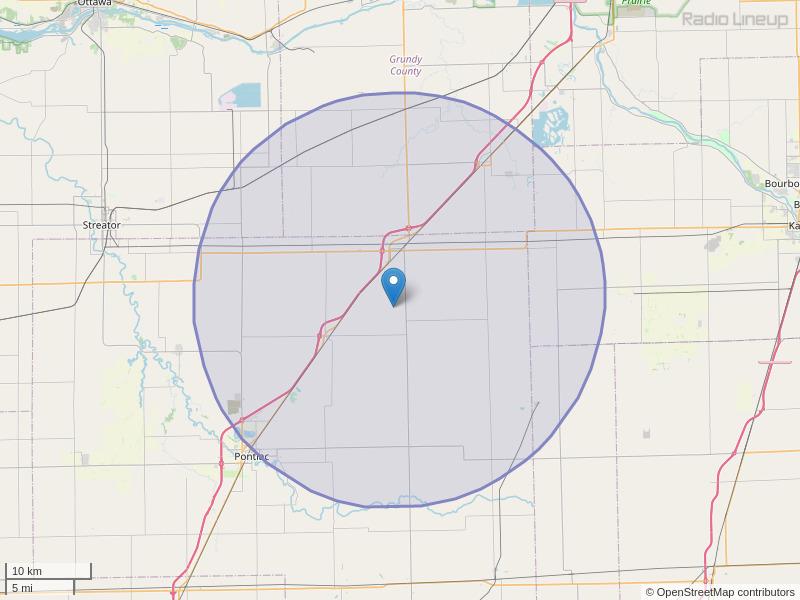 WJEZ-FM Coverage Map