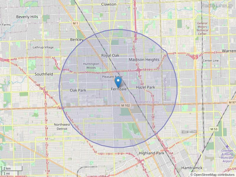 WFCB-LP Coverage Map
