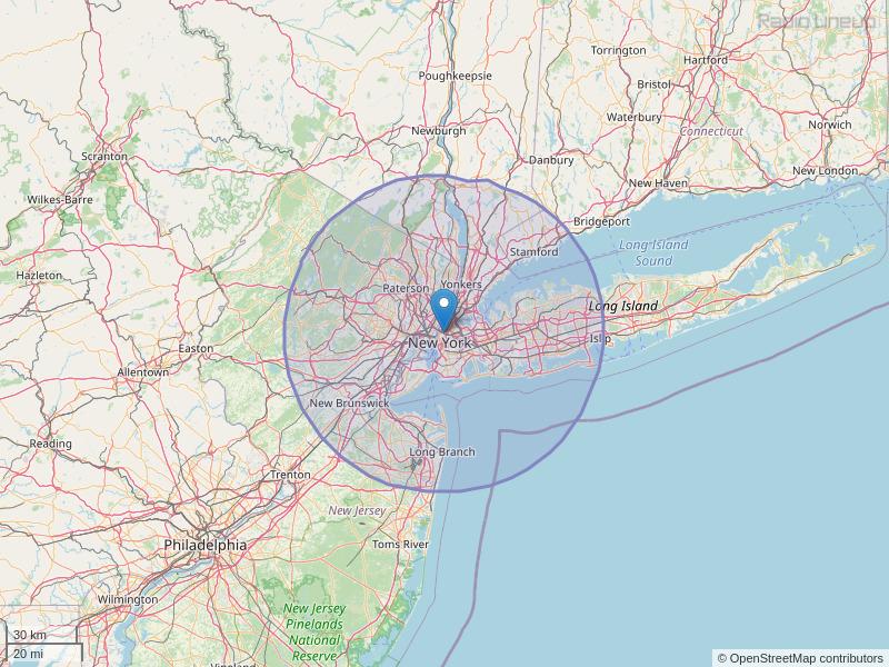 WQHT-FM Coverage Map