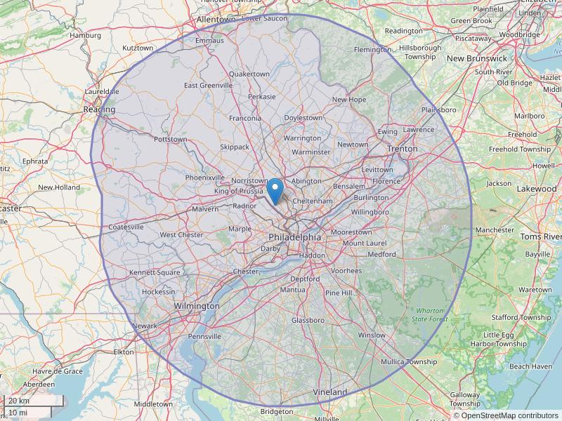 WIOQ-FM Coverage Map