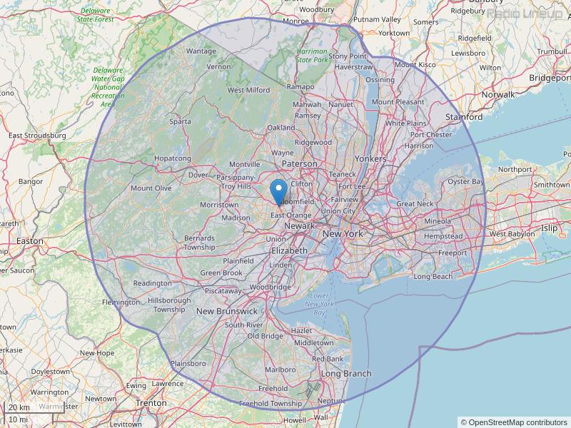 WNSH-FM Coverage Map