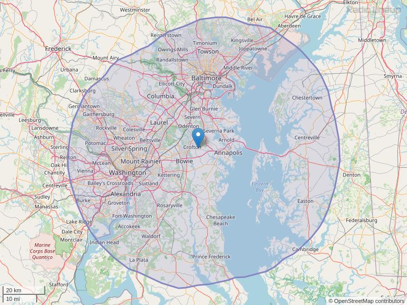 WLZL-FM Coverage Map