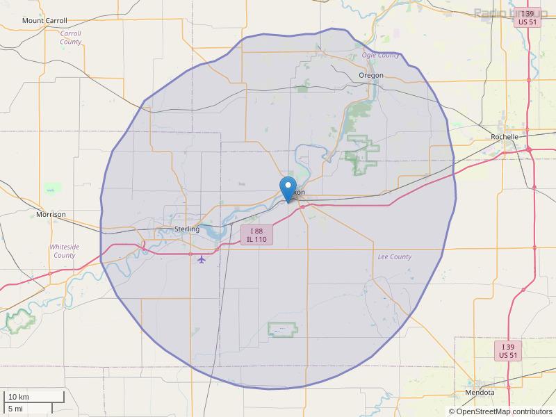 WRCV-FM Coverage Map