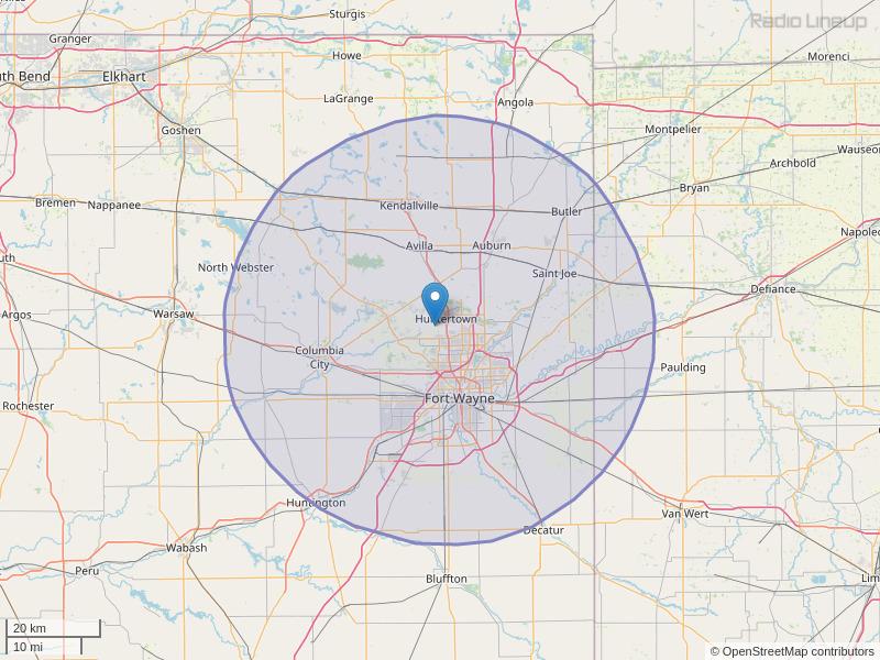 WBTU-FM Coverage Map