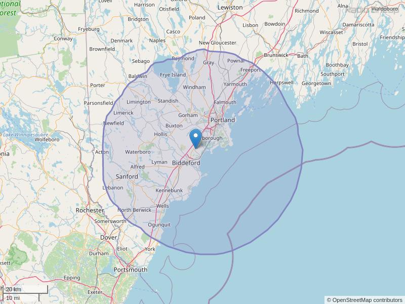 WCYY-FM Coverage Map