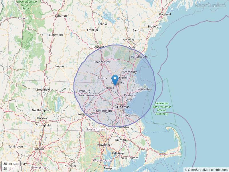 WCRB-FM Coverage Map