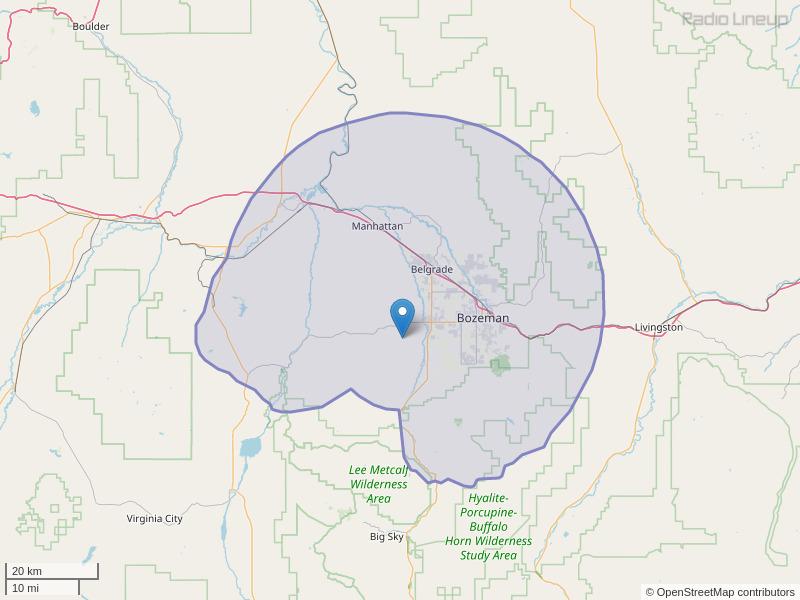 KISN-FM Coverage Map