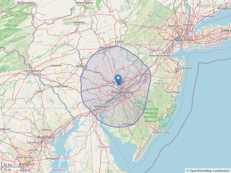 WRNB-FM Coverage Map