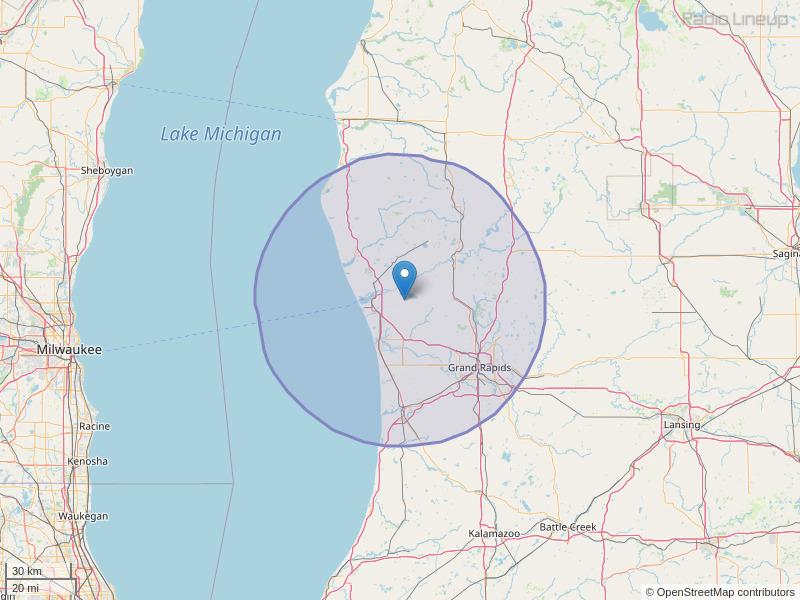 WOOD-FM Coverage Map