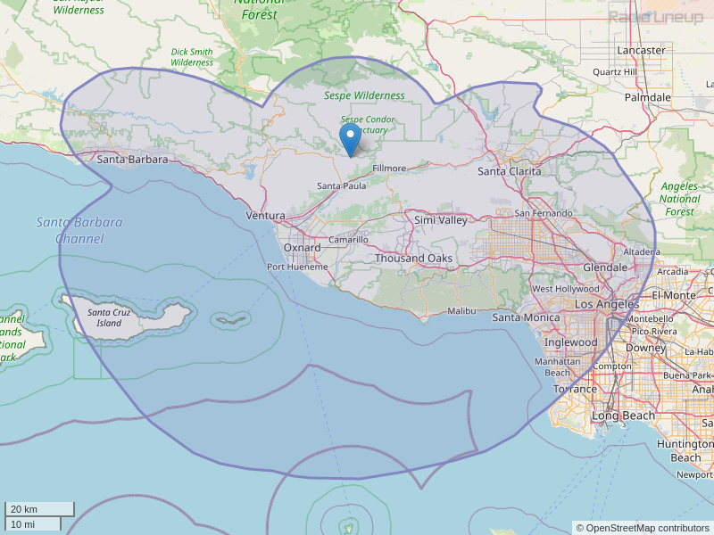 KOCP-FM Coverage Map