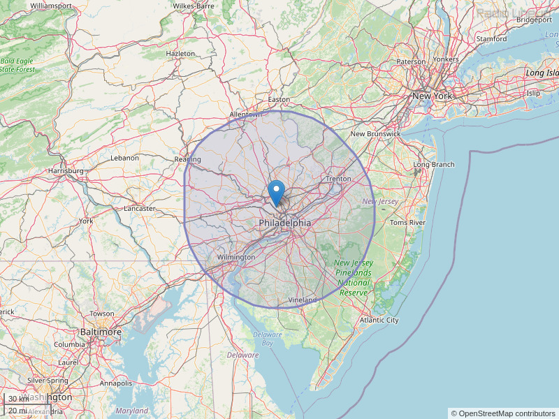 WMGK-FM Coverage Map