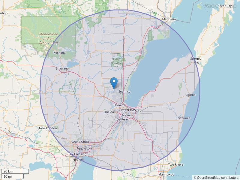 WQLH-FM Coverage Map