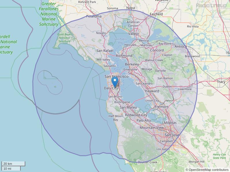 KGMZ-FM Coverage Map