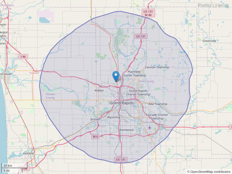 WFGR-FM Coverage Map