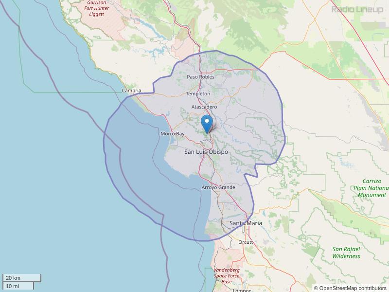 KWWV-FM Coverage Map