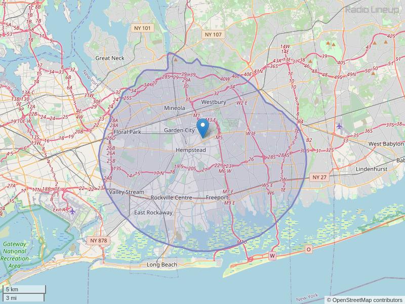 WRHU-FM Coverage Map