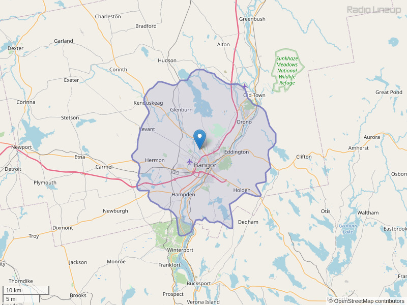 WHSN-FM Coverage Map