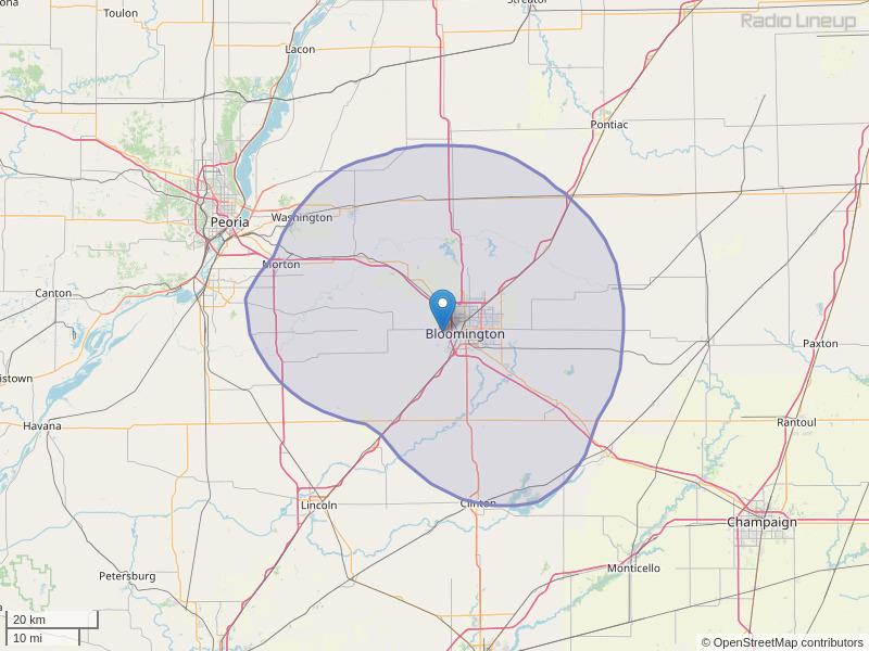 WGLT-FM Coverage Map
